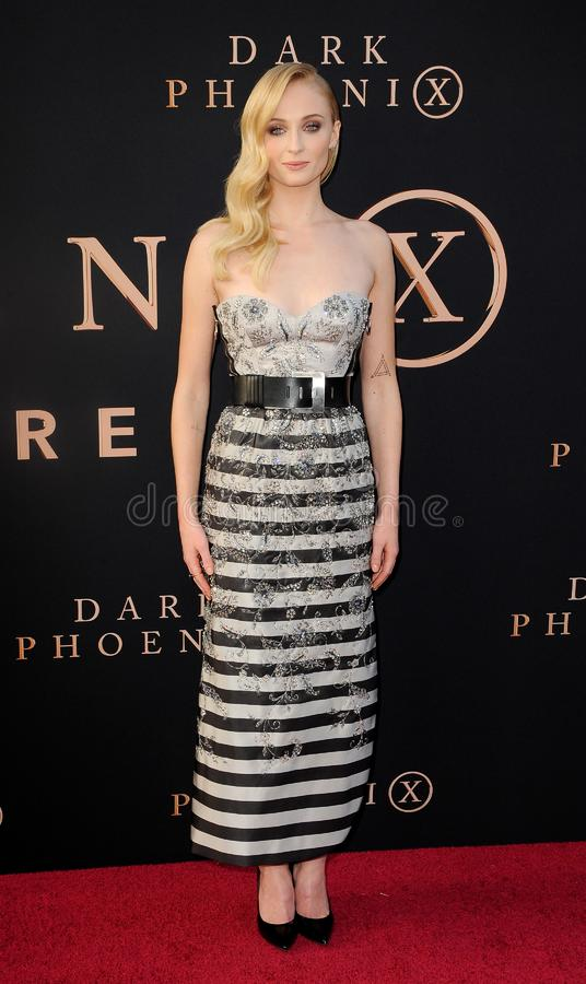 Sophie Turner. At the Los Angeles premiere of `Dark Phoenix` held at the TCL Chinese Theatre in Hollywood, USA on June 4, 2019 royalty free stock photos