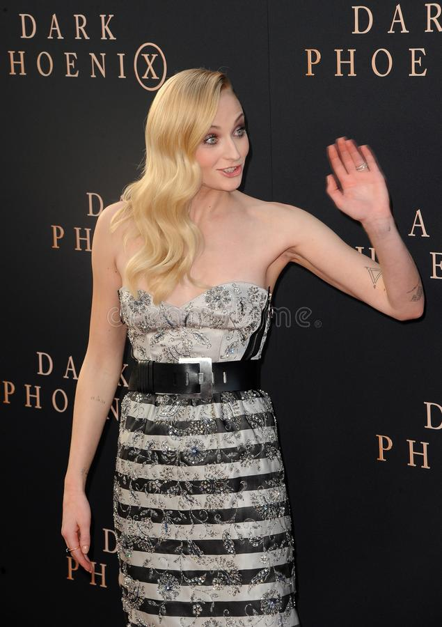 Sophie Turner. At the Los Angeles premiere of `Dark Phoenix` held at the TCL Chinese Theatre in Hollywood, USA on June 4, 2019 royalty free stock photography