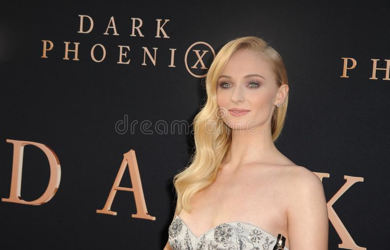 Sophie Turner. At the Los Angeles premiere of `Dark Phoenix` held at the TCL Chinese Theatre in Hollywood, USA on June 4, 2019 royalty free stock photo