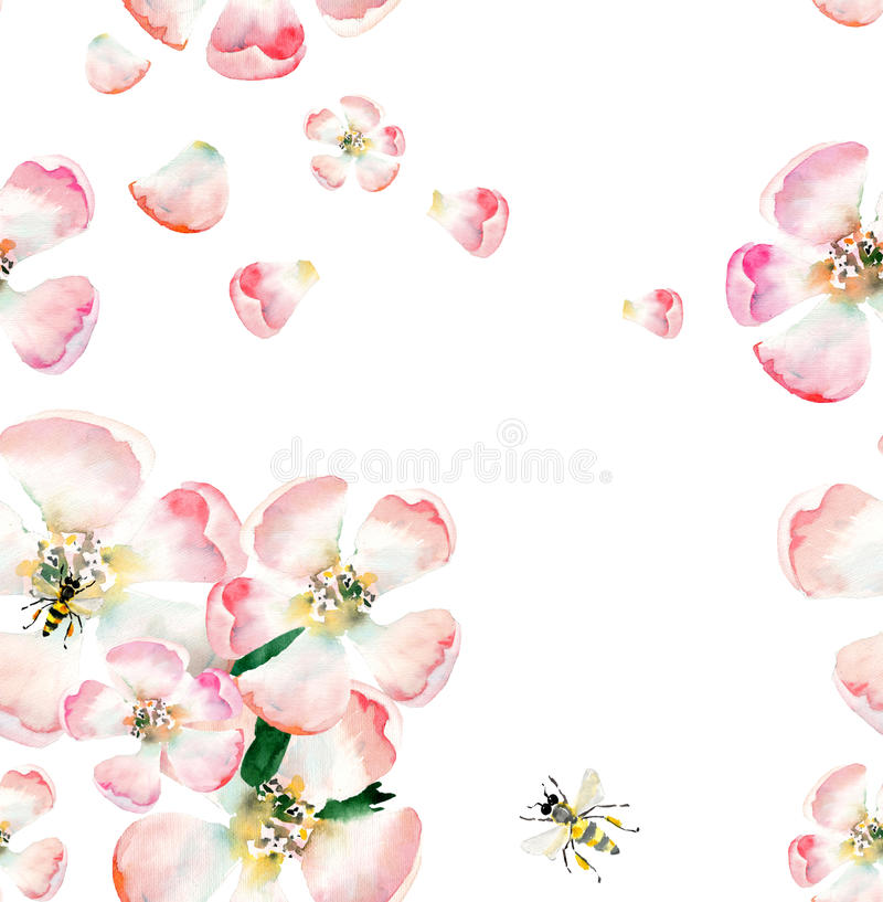 Sophisticated beautiful cute lovely tender herbal floral spring flowers of apple with green leaves and bees pattern watercolor. Hand illustration vector illustration