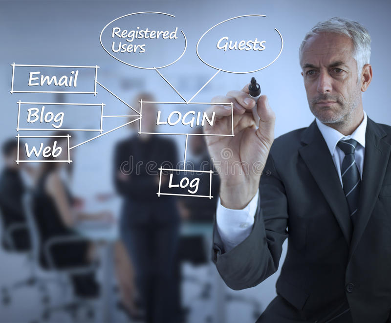 Sophisticated Businessman Writing Login Terms Royalty Free Stock Photography