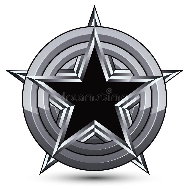 Sophisticated design geometric symbol, stylized pentagonal black royalty free illustration