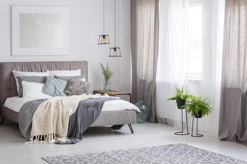 Sophisticated soft color bedroom. Grey bedding and mint pillow on king-size bed in sophisticated soft color bedroom with fern royalty free stock images