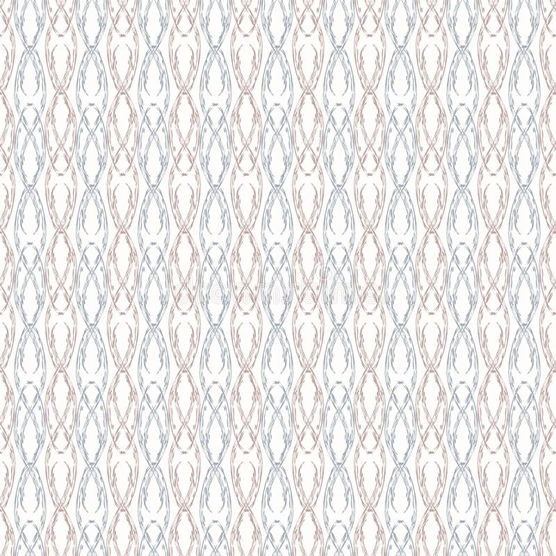 Sophisticated vintage style ornamental design in pastel purple and blue. Seamless vector pattern on white background stock illustration