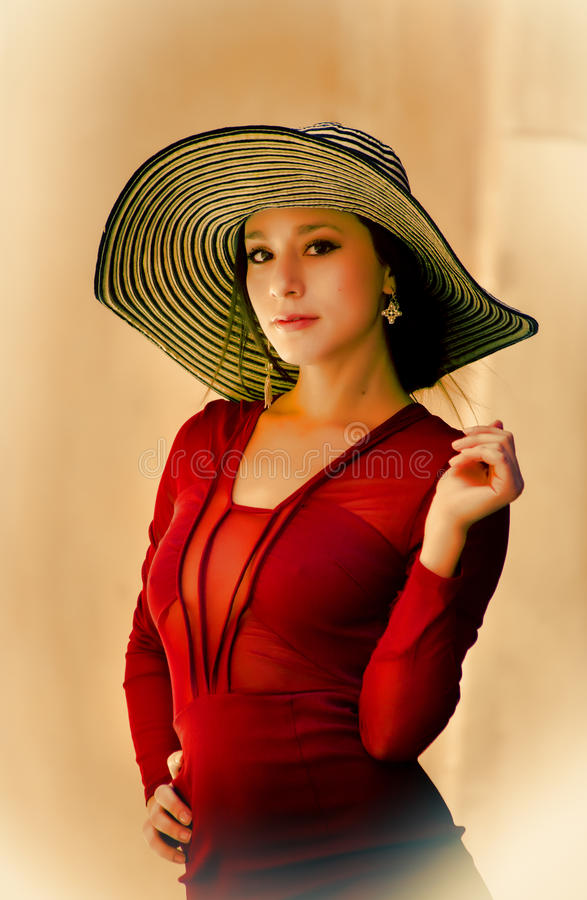 Sophisticated Young Woman Wearing Red Dress Stock Image ...
