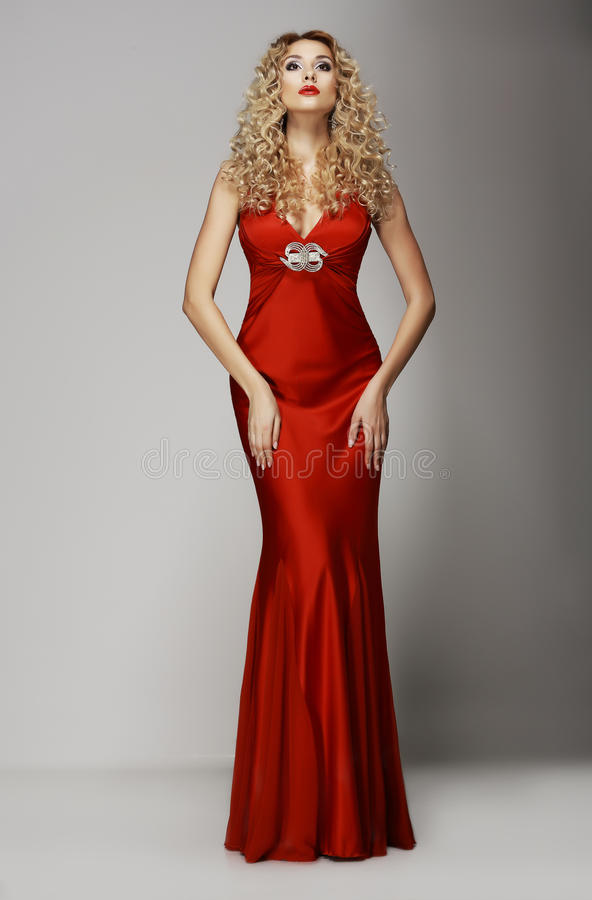 Free Sophistication. Seductive Woman In Red Fashion Dress. Charisma Stock Images - 31139504