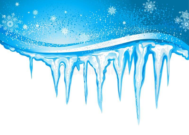 Sople i płatki śniegu ilustracji
