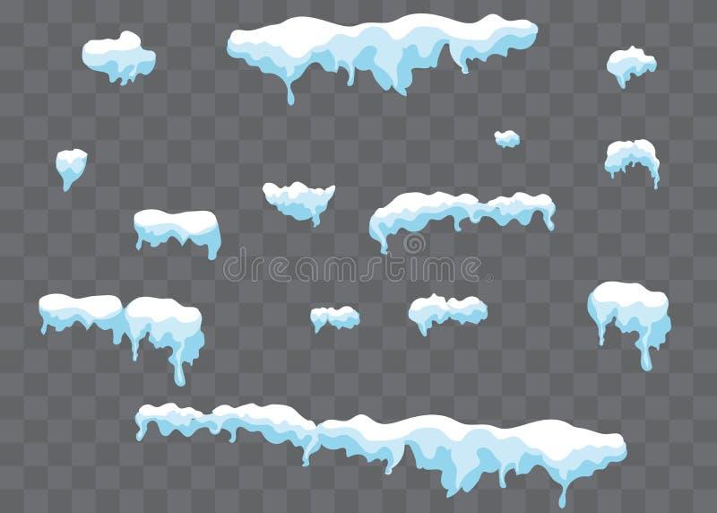 Sople na Przejrzystym tle Zima sople z śniegiem na przejrzystym royalty ilustracja