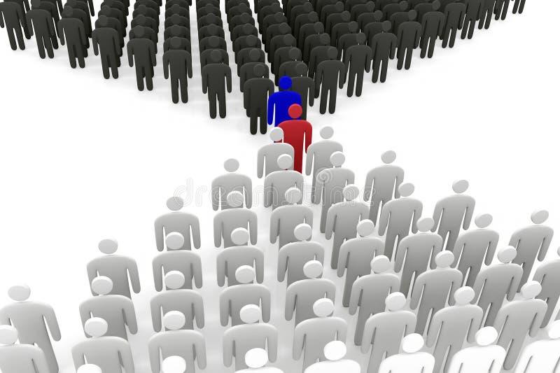 Soporte abstracto de dos grupos de los hombres antes de uno a ilustración del vector