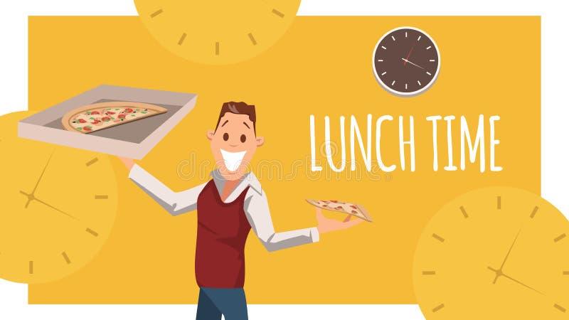 Soporte alegre del oficinista, caja de la pizza del cart?n del control stock de ilustración