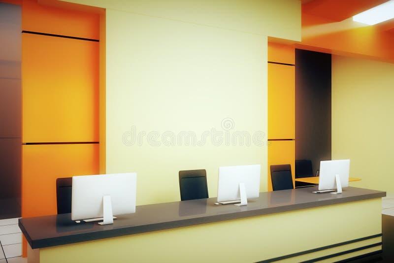 Soporte anaranjado de la recepción ilustración del vector