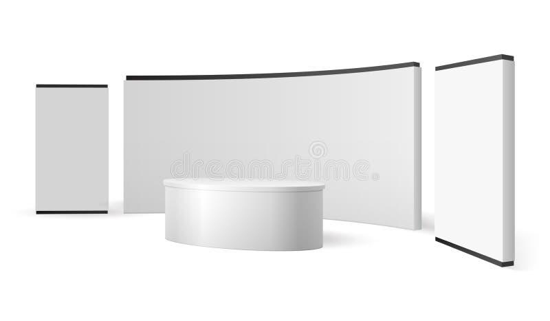 Soporte blanco de la exposición Exhibición promocional de la cabina en blanco de la feria profesional El vector 3d del panel del  stock de ilustración