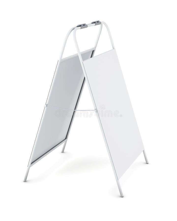 Soporte blanco de la publicidad aislado en el fondo blanco renderi 3D stock de ilustración