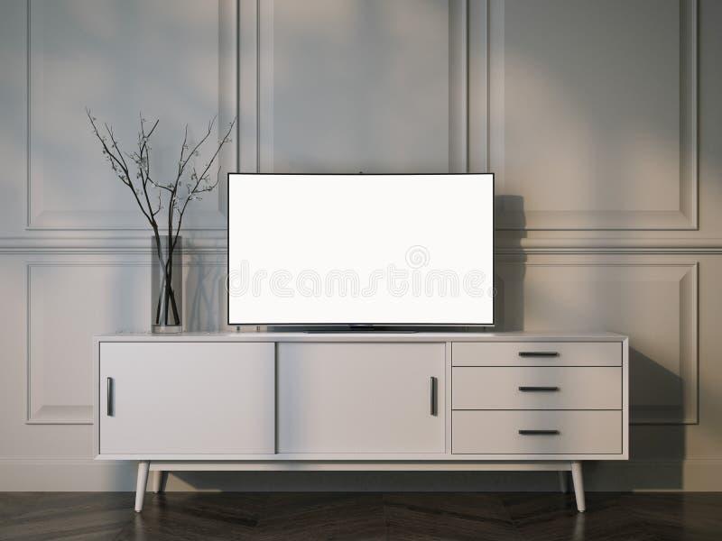 Soporte blanco de la TV con la televisión plana del LCD representación 3d stock de ilustración