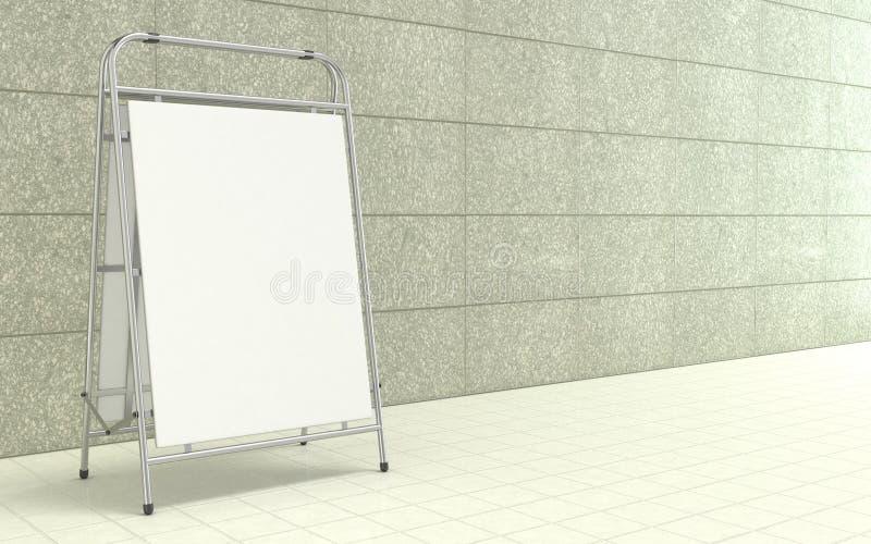 Soporte blanco en blanco de la publicidad, con el tablero del espacio de la copia delante del muro de cemento 3d stock de ilustración