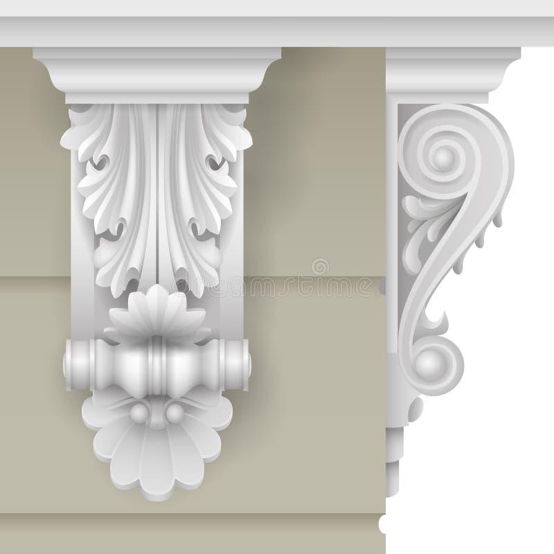 Soporte clásico de la fachada ilustración del vector