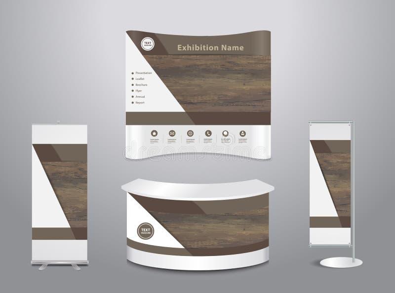 Soporte comercial de la exposición del vector con el fondo de madera de la cubierta ilustración del vector