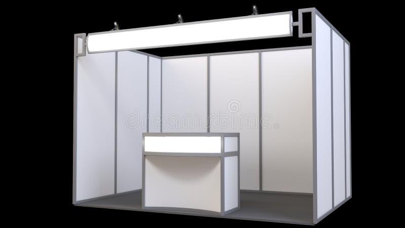 Soporte comercial de la exposición, ronda de la exposición, 3D que rinde la visualización del equipo de la exposición, espacio en stock de ilustración