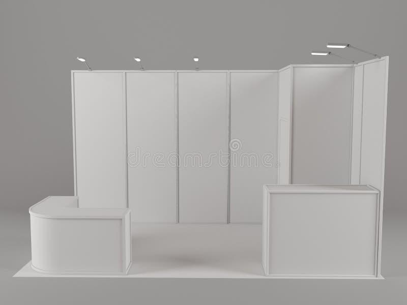 Soporte comercial de la exposición, ronda de la exposición, 3D que rinde la visualización del equipo de la exposición, espacio en ilustración del vector