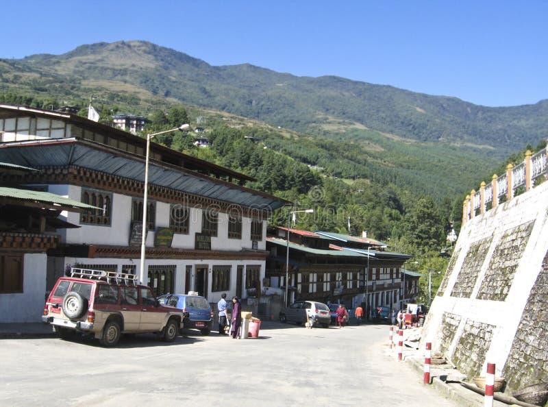 Soporte de autobús en Bhután central imagen de archivo libre de regalías