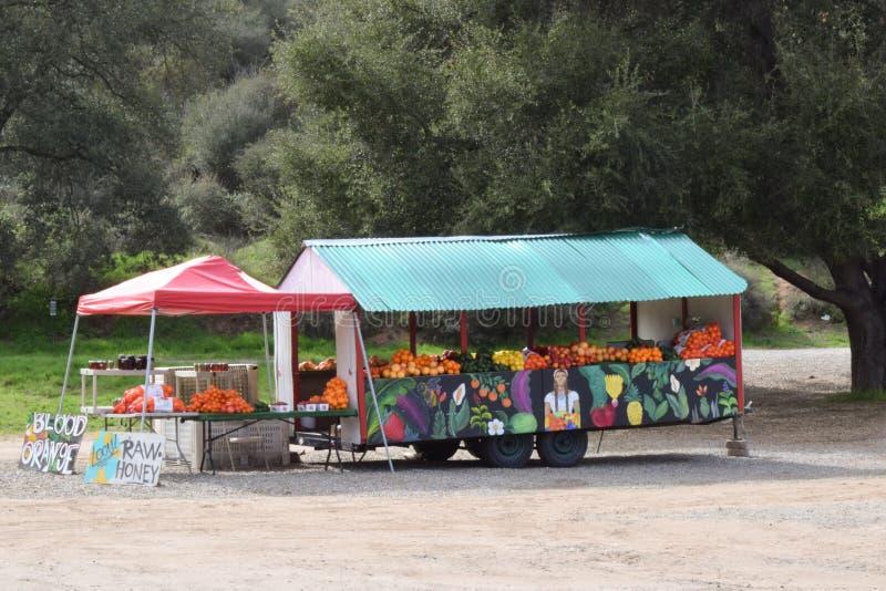 Soporte de fruta colorido del borde de la carretera foto de archivo