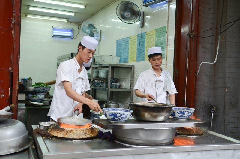 Soporte de la comida en cuarto de los musulmanes de Xian imágenes de archivo libres de regalías