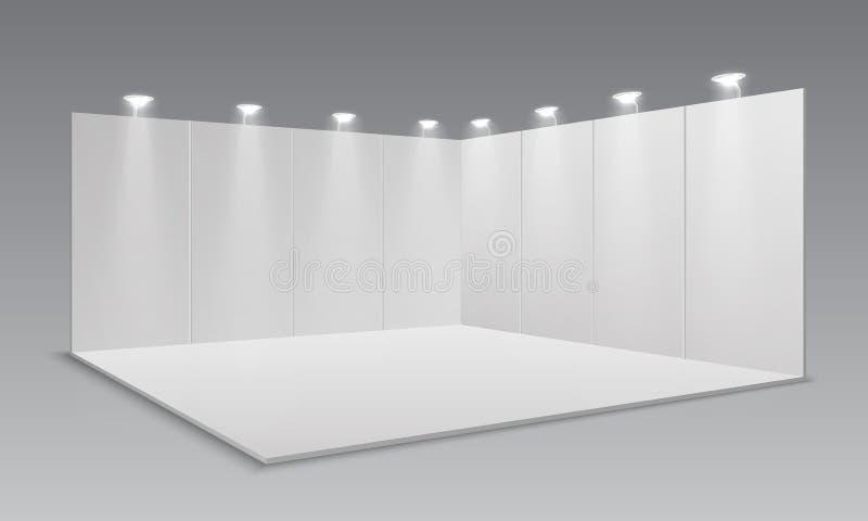 Soporte de la exposición de la exhibición en blanco Los paneles vacíos blancos, soporte publicitario promocional Plantilla del si libre illustration