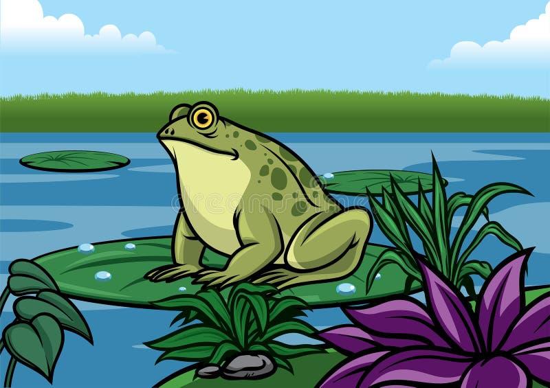 Soporte de la historieta de la rana en la hoja del loto en el medio del lago stock de ilustración