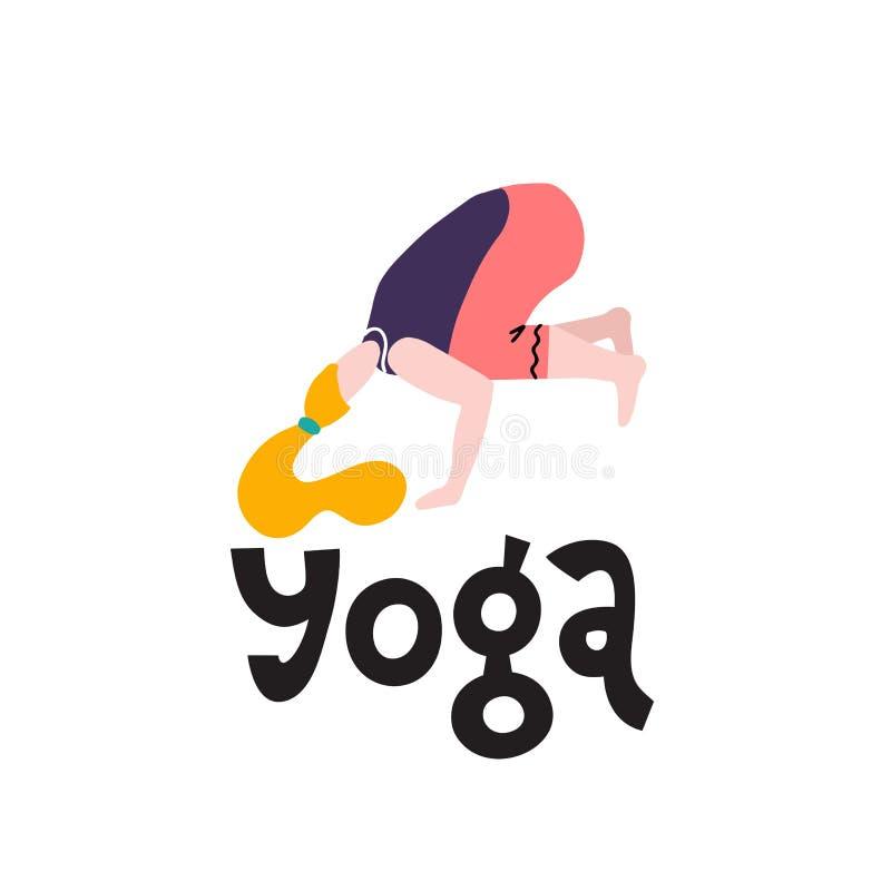 Soporte de la mujer joven en una impresi?n de la actitud de la yoga Muchacha de la yoga en la posici?n de la aptitud La muchacha  stock de ilustración