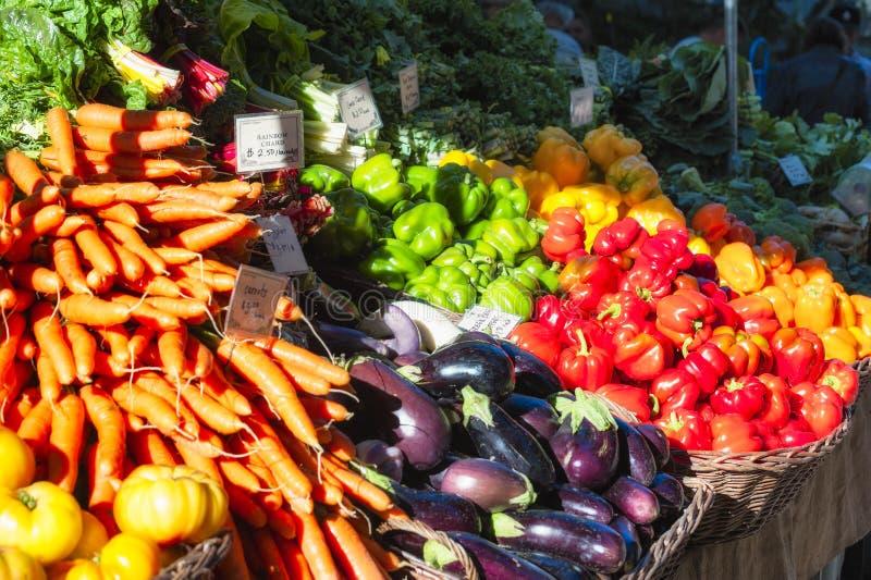 Soporte de la producción del mercado de los granjeros foto de archivo libre de regalías