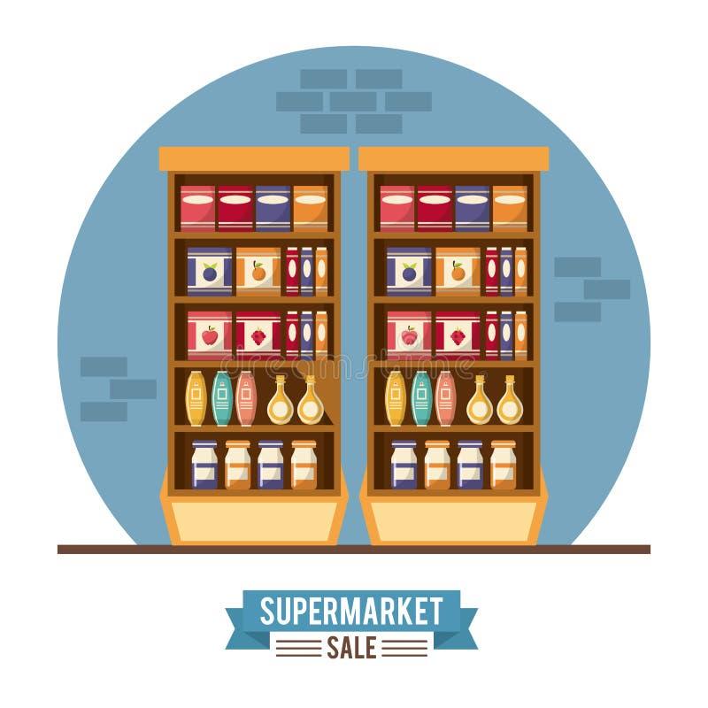Soporte de la venta del supermercado ilustración del vector