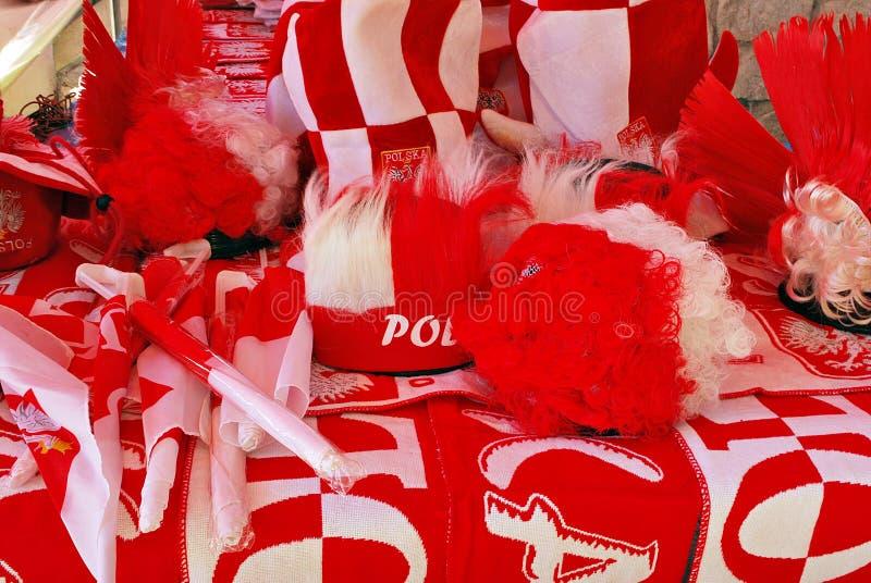 Soporte de los accesorios de las fans del polaco en frente foto de archivo