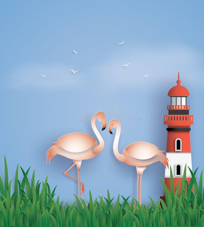 Soporte de los flamencos de los pájaros del amor en la playa ilustración del vector