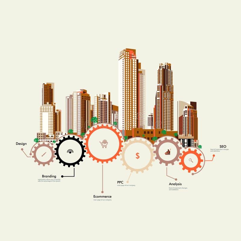 Soporte de los rascacielos en los engranajes ilustración del vector