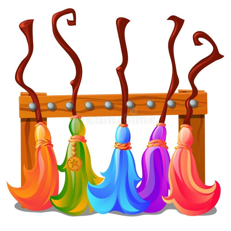 Soporte de madera con las escobas coloridas de las brujas aisladas en el fondo blanco Bosquejo para un cartel o una tarjeta para ilustración del vector