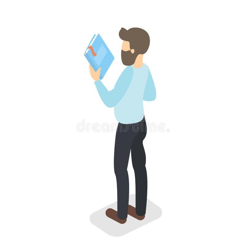 Soporte del hombre con un libro Libro que lleva ilustración del vector
