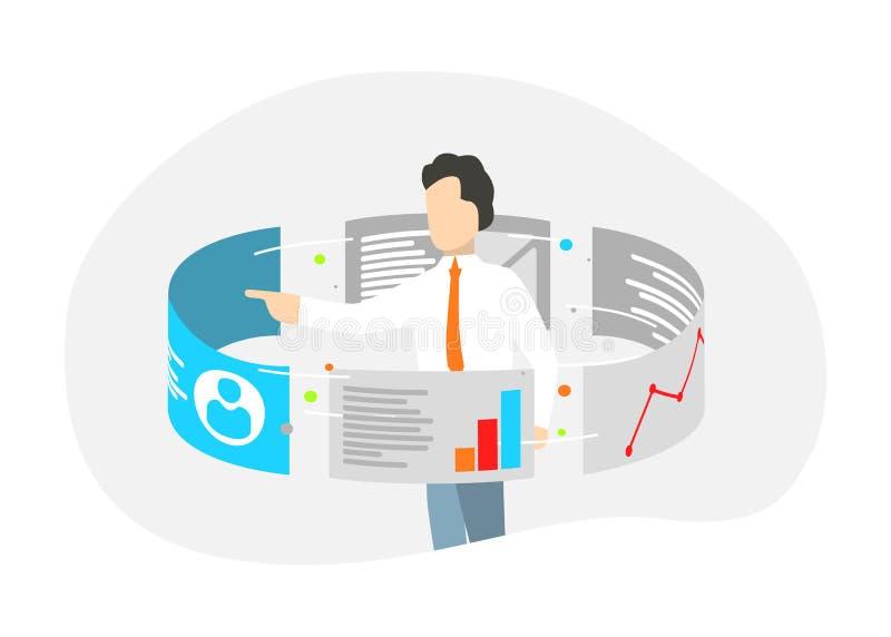 Soporte del hombre de negocios alrededor de monitores de la pantalla táctil Analytics de los datos y concepto de las tecnologías  stock de ilustración