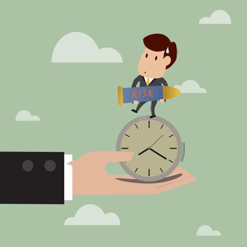 Soporte del hombre de negocios en el reloj mientras que lleve la bomba w stock de ilustración