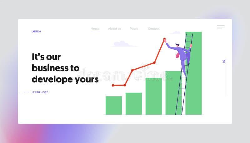 Soporte del hombre de negocios en magro de la escalera a la línea cada vez mayor de la curva de la pintura de la carta de columna ilustración del vector