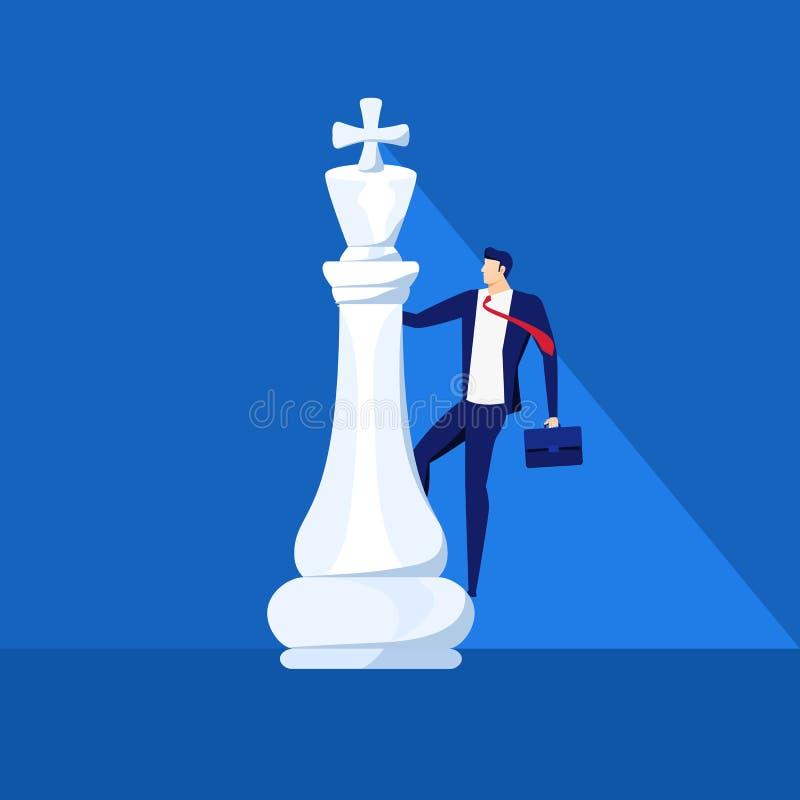 Soporte del hombre de negocios en pedazo de ajedrez del rey Concepto acertado de la estrategia empresarial Lucha del negocio, est ilustración del vector