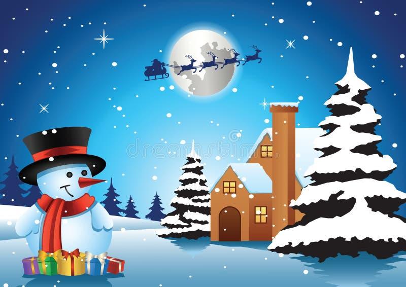 Soporte del muñeco de nieve delante de la casa sola en la noche y santa f de Navidad libre illustration