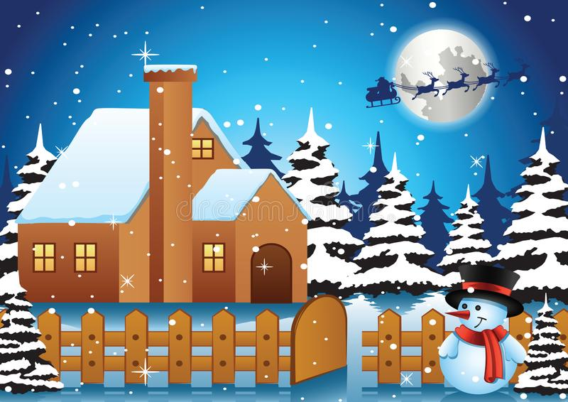 Soporte del muñeco de nieve delante de la casa sola en la noche y santa f de Navidad ilustración del vector