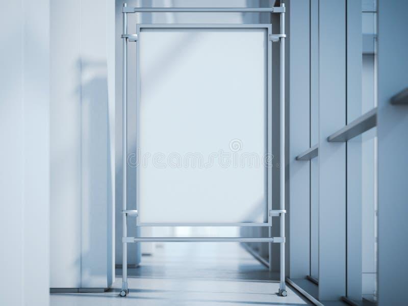 Soporte en blanco de la publicidad en el pasillo de la oficina representación 3d ilustración del vector