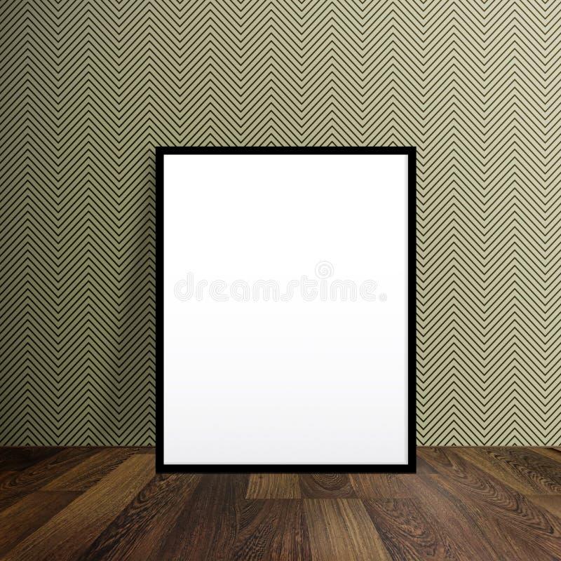 Soporte en blanco del cartel en un piso de madera sobre el papel pintado moderno con fotografía de archivo libre de regalías