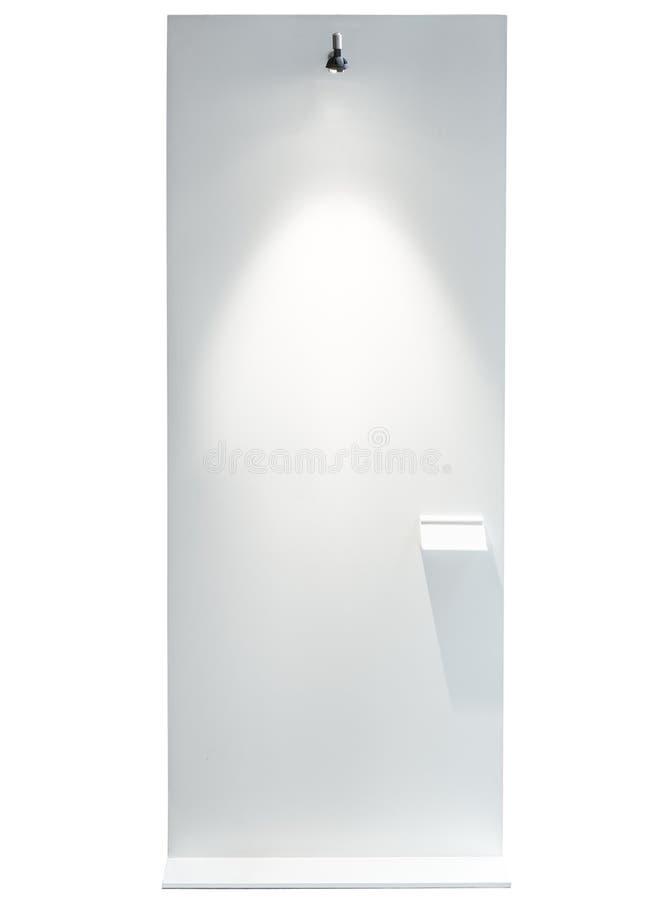 Soporte en blanco del tablero con la luz Art Gallery Exhibition del punto fotos de archivo