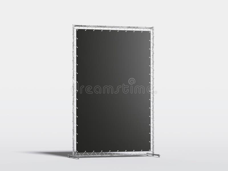 Soporte en blanco vertical negro de la publicidad representación 3d stock de ilustración