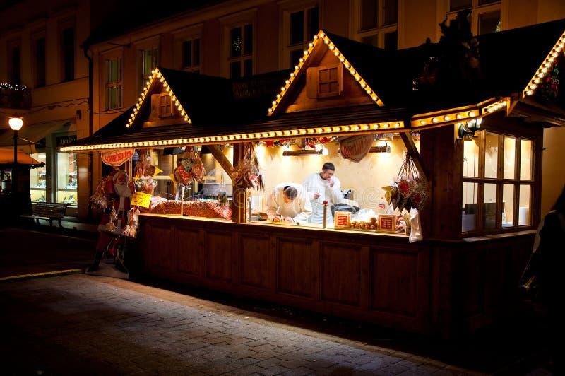 Soporte en mercado de la Navidad en Potsadm imagenes de archivo