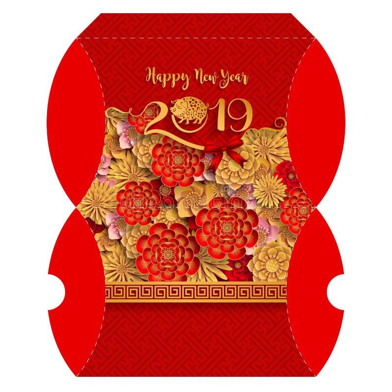 Soporte la caja de regalo para la muestra china feliz 2019 del zodiaco del Año Nuevo ilustración del vector