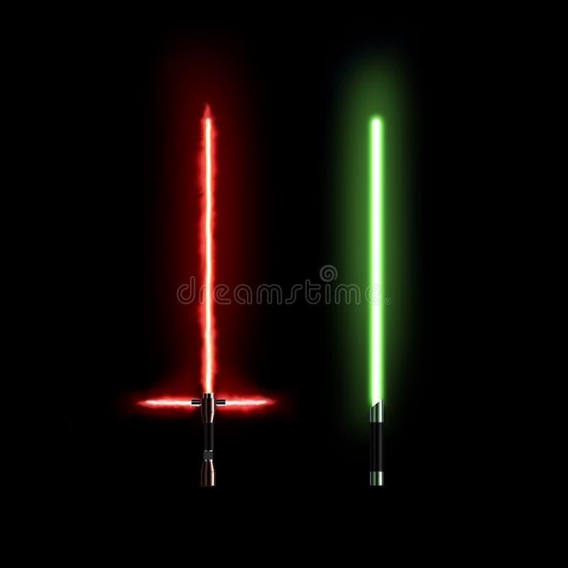 Soporte ligero del sable, rojo y verde en negro ilustración del vector