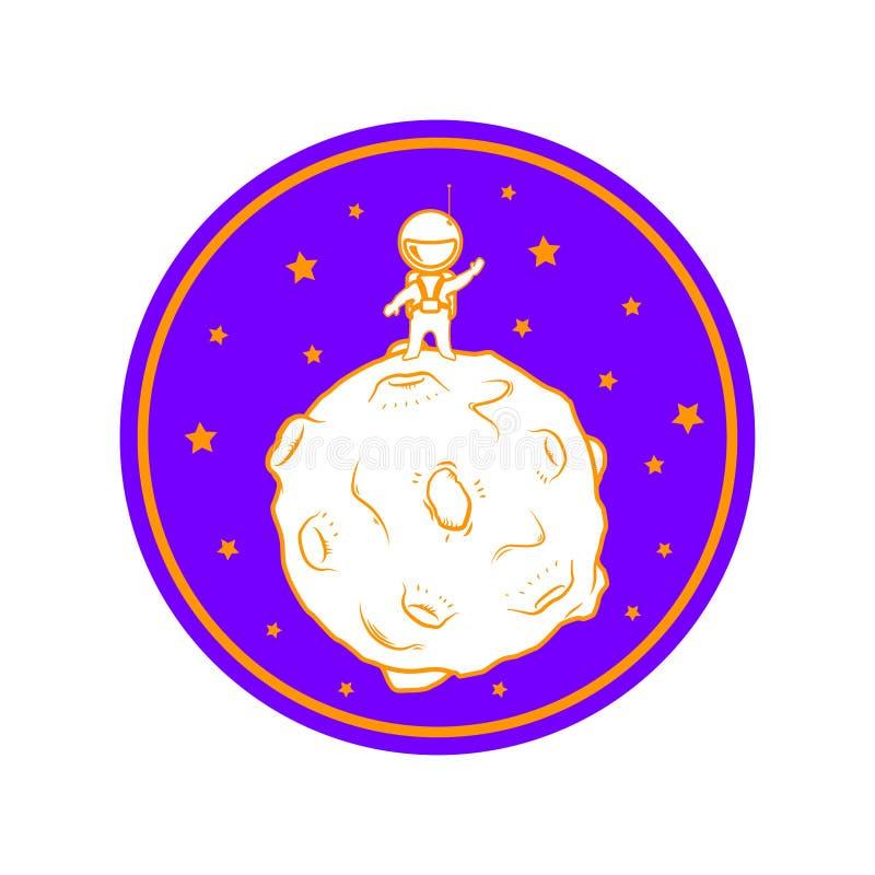 Soporte lindo del astronauta de la historieta en la luna stock de ilustración